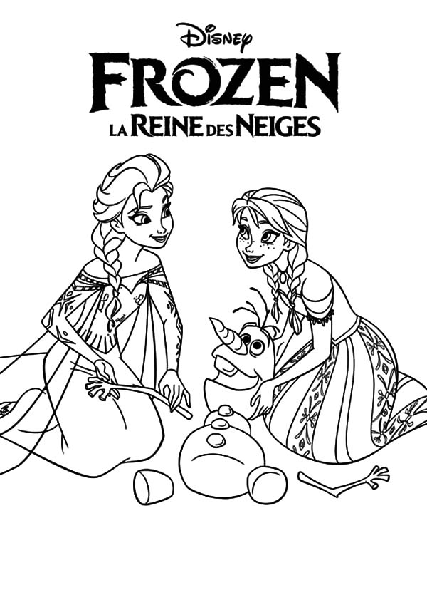 Queen Elsa and Princess Anna Helping Olaf Coloring Pages
