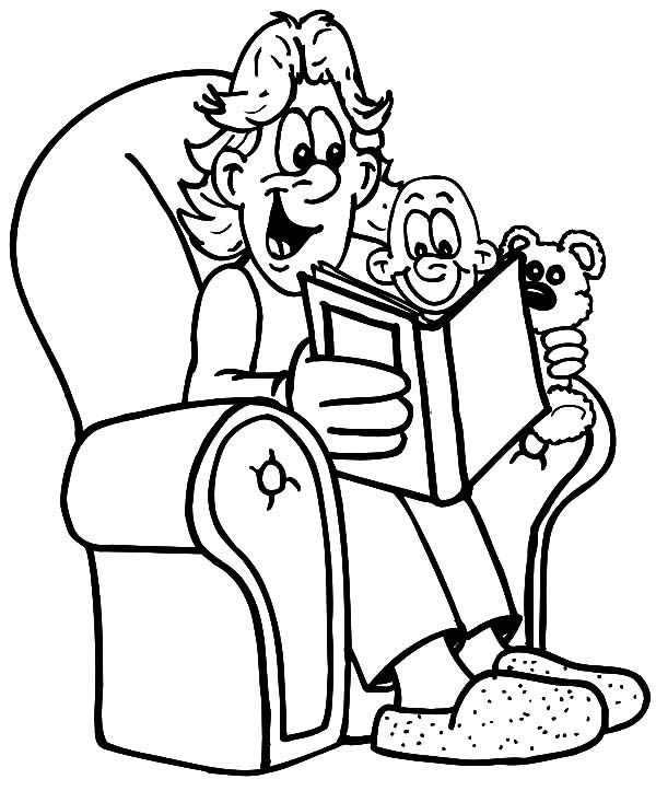 Reading Book with Daddy I Love Dad Coloring Pages | Coloring Sky