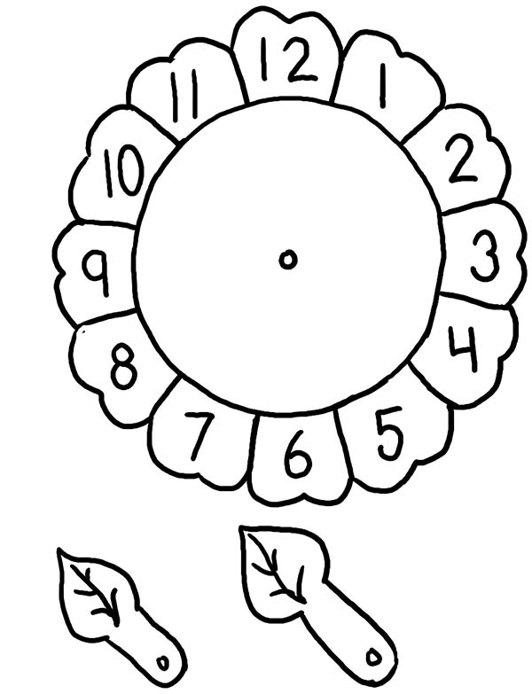 Sunflower Alarm Clock Coloring Pages