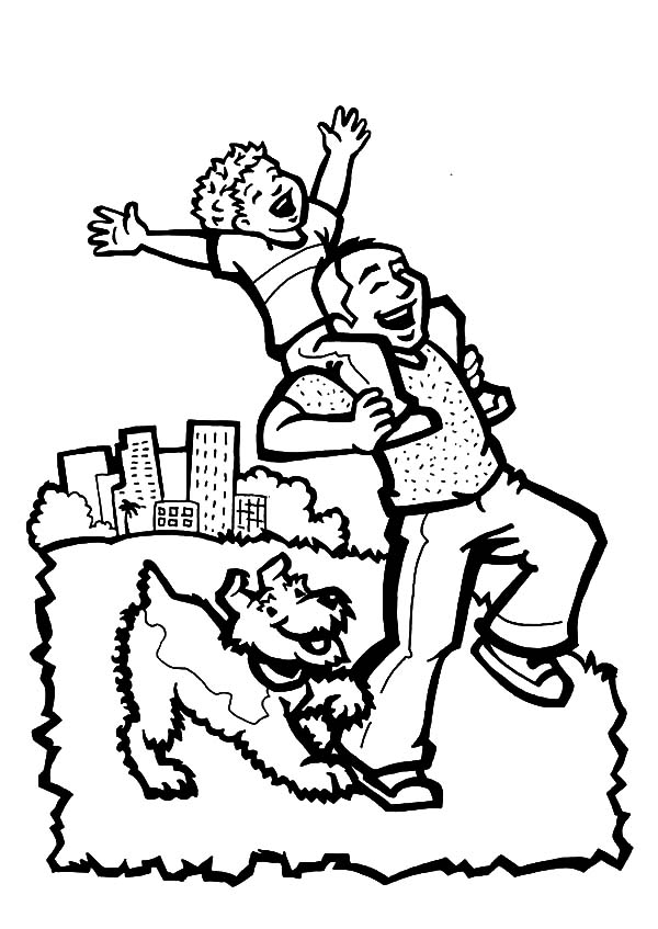 Taking Dog Out With Daddy I Love Dad Coloring Pages