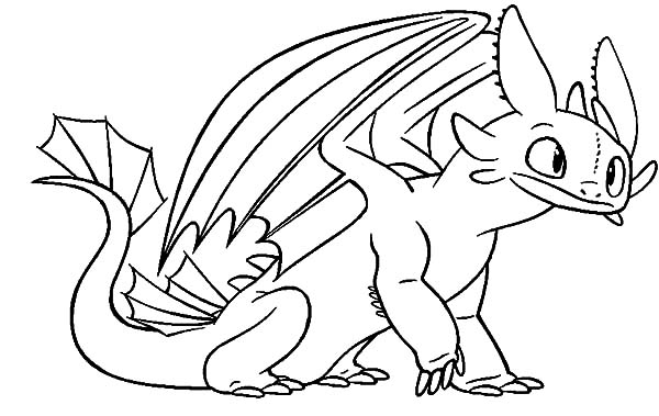 Toothless Sit Calmly in How to Train Your Dragon Coloring Pages