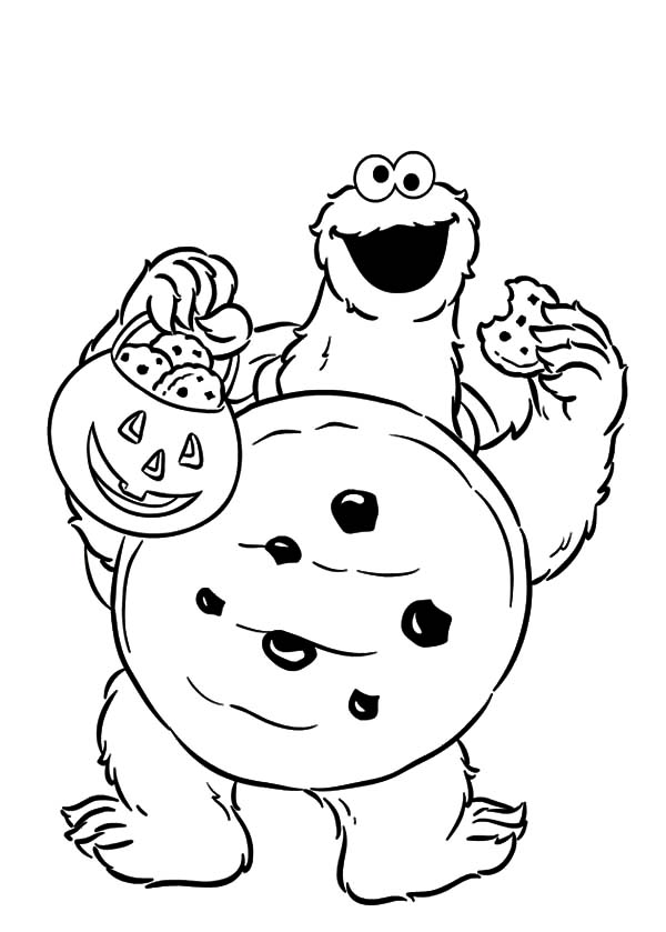 cookie monster trick or treat cookie monster coloring pages trick or treat cookie monster - Baby Cookie Monster Coloring Pages