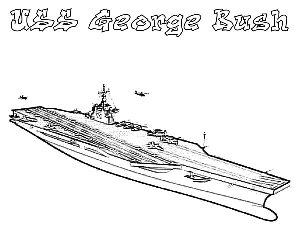 USS George Bush Aircraft Carrier Ship Coloring Pages