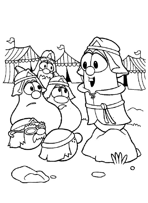 veggie tales larry boy middle ages war coloring pages