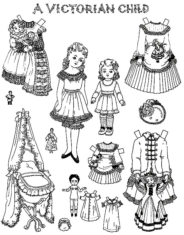 Victorian Child Doll Dress Coloring Pages