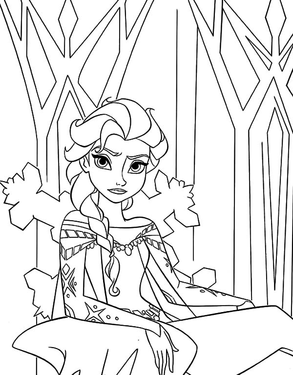 Elsa, Walt Disney Queen Elsa Sitting On Her Throne Coloring Pages: Walt  Disney Queen