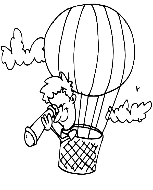 Watching Land Through Telescope in Hot Air Balloon Coloring Pages ...