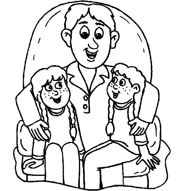We Sit on Daddys Lap I Love Dad Coloring Pages: We Sit on Daddys ...