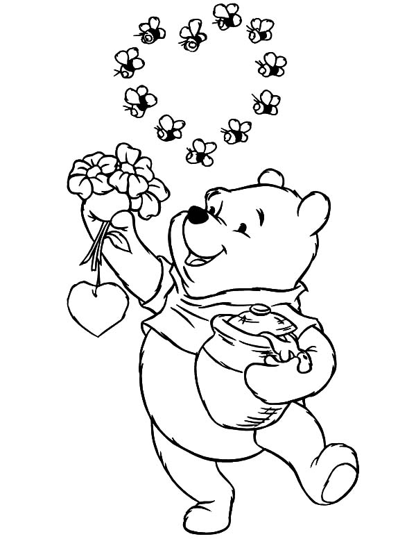 Pooh Bear Bee Coloring Page Classic Pooh Bear Coloring Pages ...