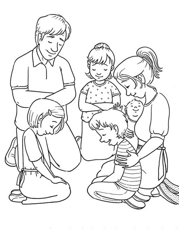 Coloring Pages Family Praying Together