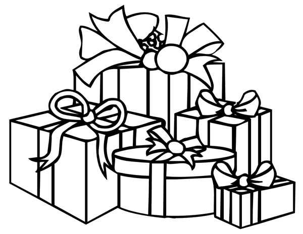 A Lot of Gifts Coloring Page | Coloring Sky