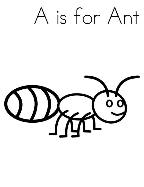 A Is For Ant Coloring Page : Coloring Sky