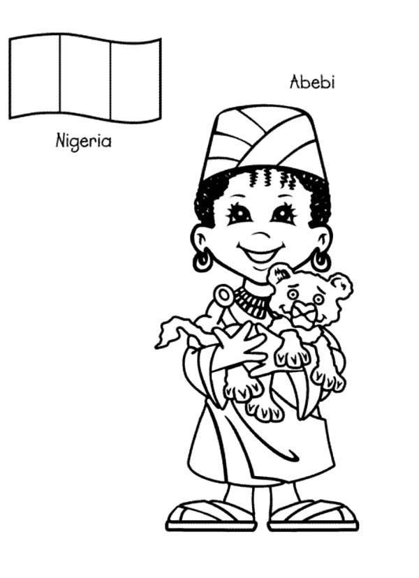 child around the world coloring pages | Abebi Nigerian Kid From Around The World Coloring Page ...