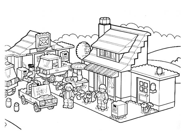 Activity In Lego City Coloring