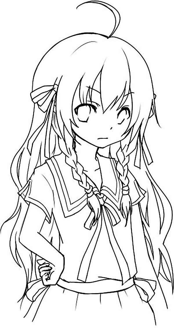 Anime, : Adorable Chibi Anime Coloring Page