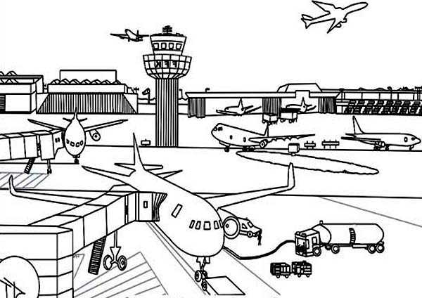 airport maps coloring pages | Airport Coloring Page For Kids : Coloring Sky