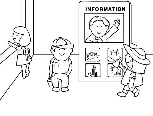 airport maps coloring pages | Airport Information Officer Coloring Page : Coloring Sky