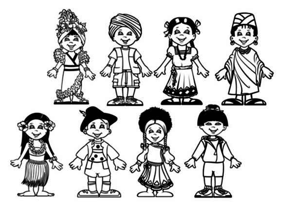 Niños De Diferentes Nacionalidades Para Colorear: Amazing Children Around The World Coloring Page : Coloring Sky