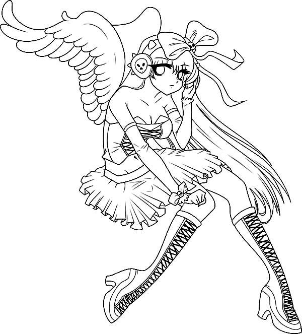 An Angel In Anime Motion Coloring Page Coloring Sky