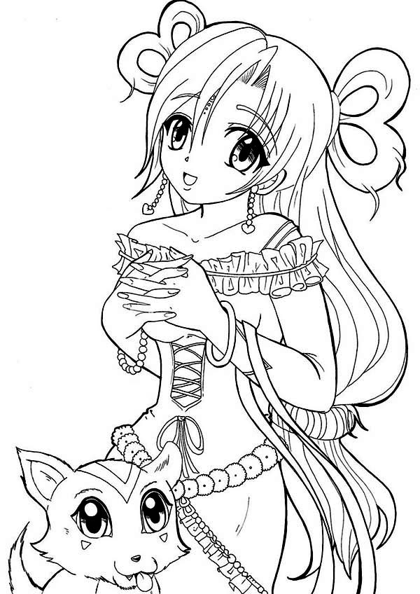 Anime Princess And Her Cat Coloring Page Coloring Sky