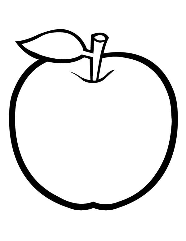 Apple With Leaf Coloring Page : Coloring Sky