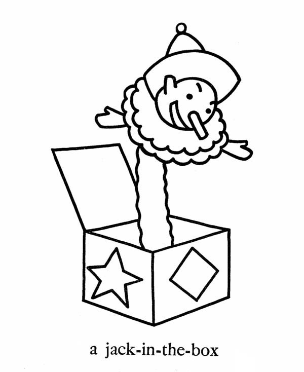 Jack in the Box, : April Fool Jack in the Box Coloring Page