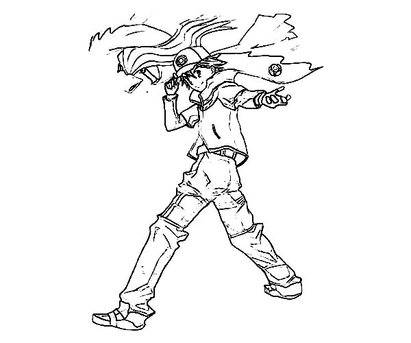 Ash Ketchum Action Pose On Pokemon Coloring Page Coloring Sky