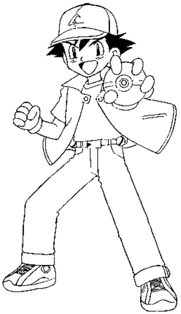 ash ketchum fighting style on coloring page