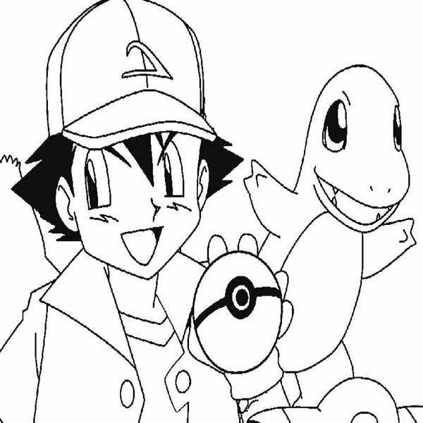 Ash Ketchum, : Ash Ketchum Got Charmander Pokemon on Pokemon Coloring Page