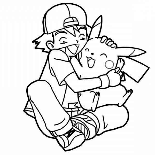 ash ketchum and pikachu coloring pages   Ash Ketchum Hug Pikachu So Tight On Pokemon Coloring Page ...
