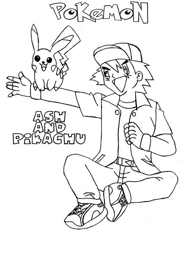 Ash Ketchum, : Ash Ketchum and Pikachu Best Friend Forever on Pokemon Coloring Page