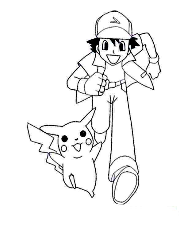 Ash Ketchum, : Ash Ketchum and Pikachu on Pokemon Coloring Page for Kids