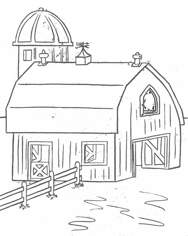 Farm, : Barn for Keeping Farm Products Coloring Page