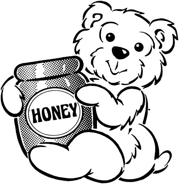 Bear And A Jar Of Honey Coloring Page : Coloring Sky