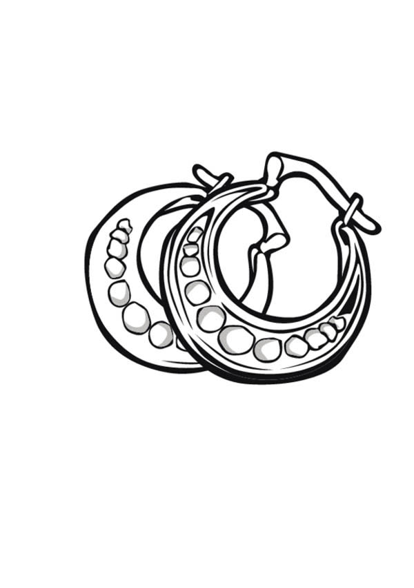 Beautiful Earrings Jewelry Coloring Page : Coloring Sky