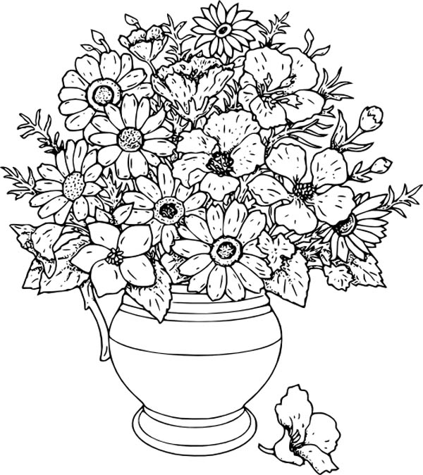 flower vase design coloring pages   Beautiful Flower Vase Coloring Page : Coloring Sky