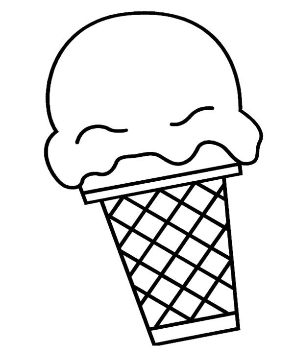 Ice Cream, : Big Ice Cream Scoop Coloring Page