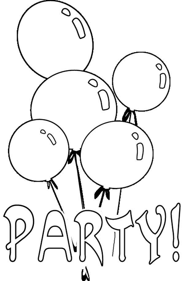 peppa pig coloring pages birthday balloon | Birthday Party Balloon Coloring Page : Coloring Sky