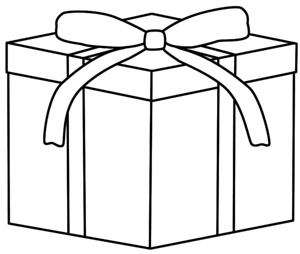 Gifts, : Box of Gifts Coloring Page