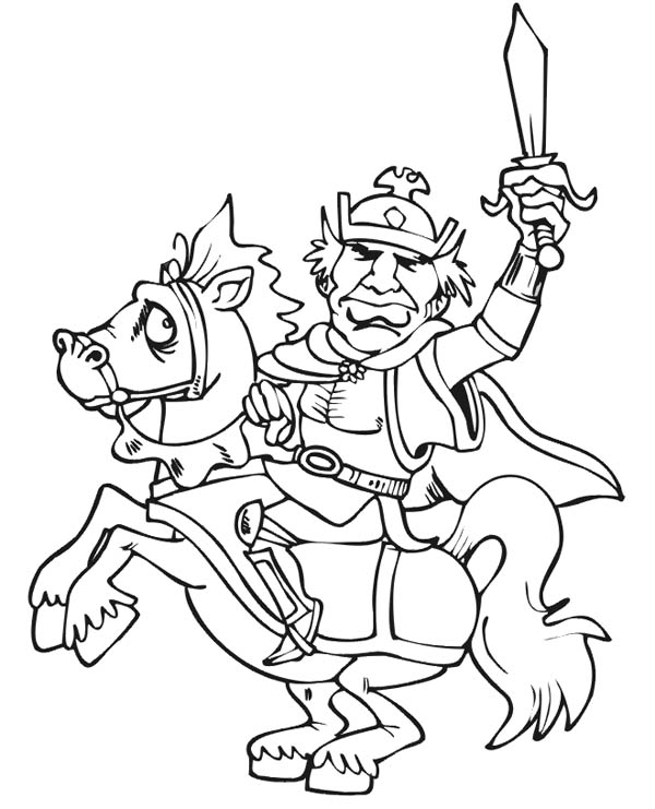 Knight, : Brave Knight on Horse Coloring Page