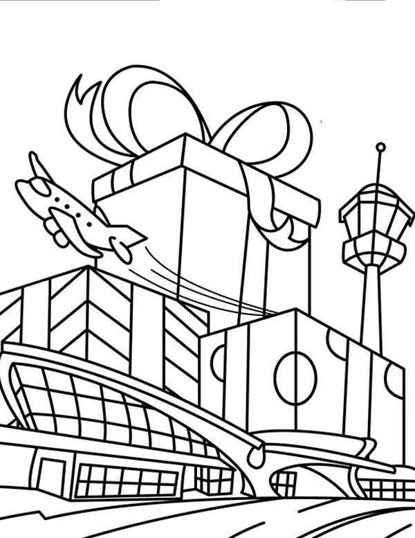 airport maps coloring pages | Busy Holiday At Airport Coloring Page : Coloring Sky
