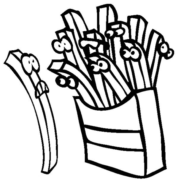 cartoon of french fries coloring page   coloring sky