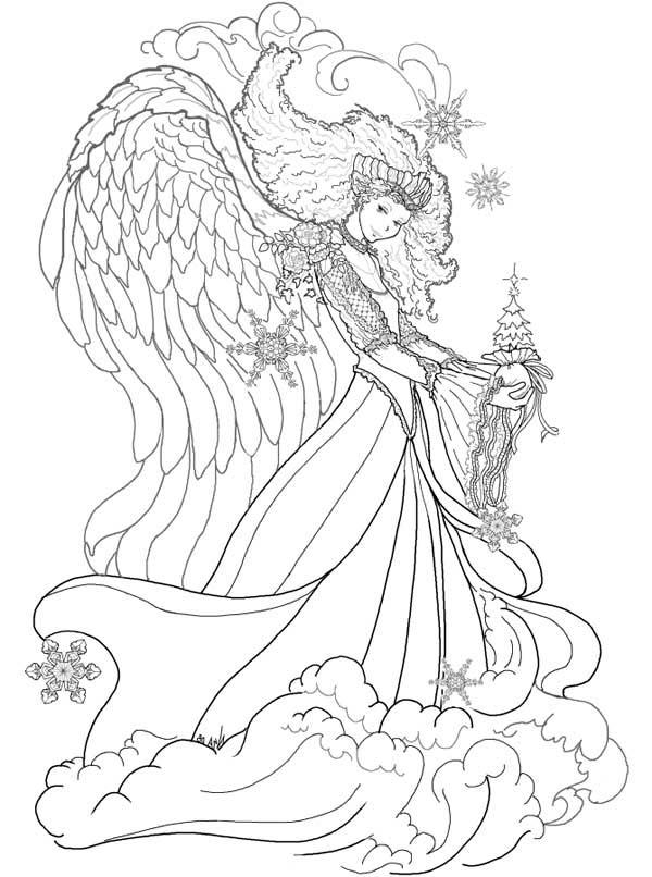 Fantasy, : Christmas Fantasy Queen Coloring Page