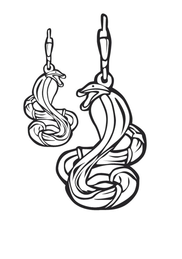 Cobra Snake Design Earrings Jewelry Coloring Page