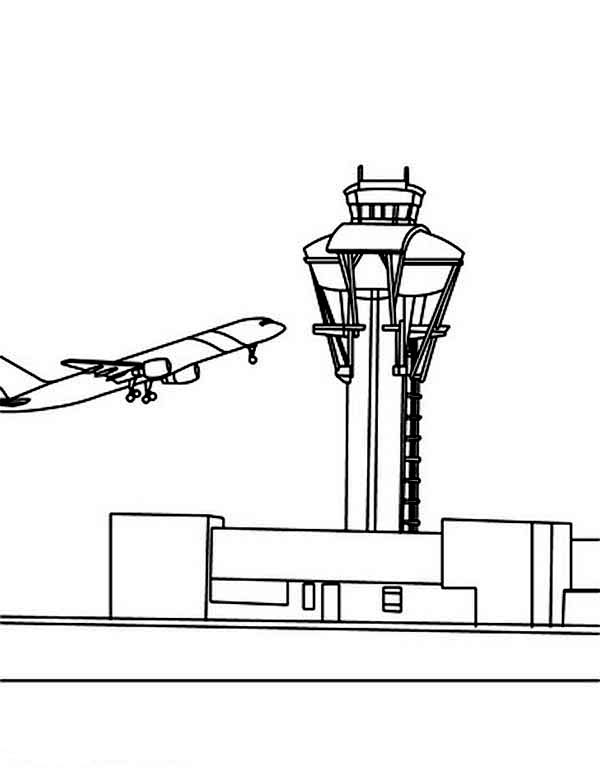 Communication Tower At Airport Coloring Page Coloring Sky