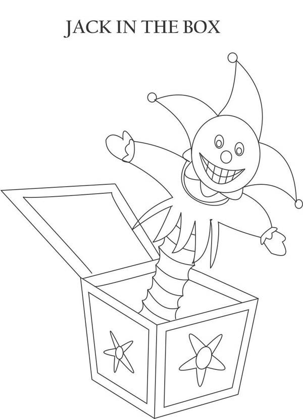 Jack in the Box, : Creepy Jack in the Box Coloring Page