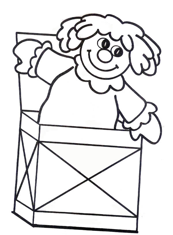 Jack in the Box, : Cute Doll Jack in the Box Coloring Page