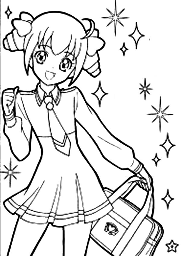 Anime, : Cute Girl Anime Character Coloring Page
