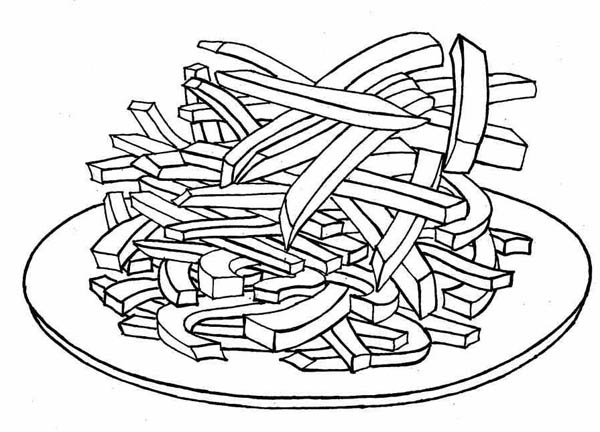 Delicious French Fries Coloring Page Coloring Sky