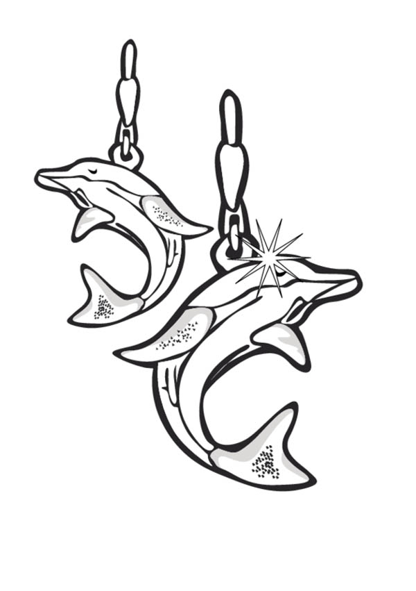 Jewlery coloring pages ~ Dolphin Earrings Jewelry Coloring Page : Coloring Sky